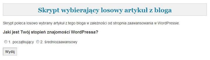 Skrypt w php losujący artykuł z bloga o WordPressie