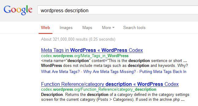 Rys. 5. Lista wyników zwracanych przez Google dla hasła WordPress description