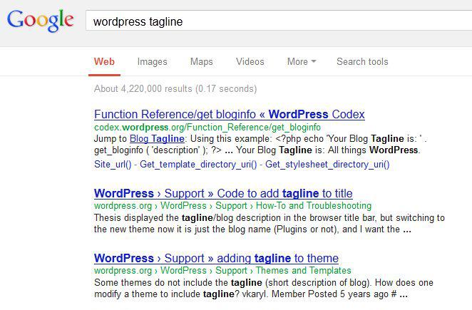 Rys. 6. Lista wyników zwracanych przez Google dla hasła WordPress tagline