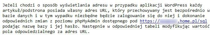 Fragmnet korespondencji z supportem w home.pl w sprawie konfiguracji WordPressa na poddomenie