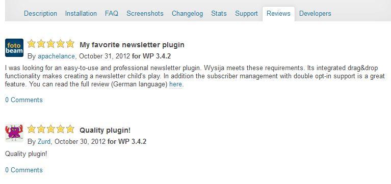 Opinie użytkowników, którzy ocenili wtyczkę w repozytorium WordPressa na przykładzie pluginu Wysija