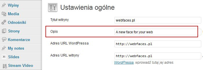 Rys. 4. Pole Opis wyświetlane w polskiej wersji językowej WordPressa