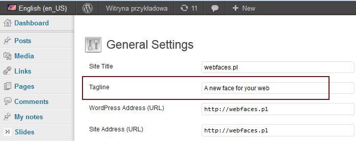 Rys. 7. Pole Opis (Tagline) wyświetlane w angielskiej wersji językowej WordPressa