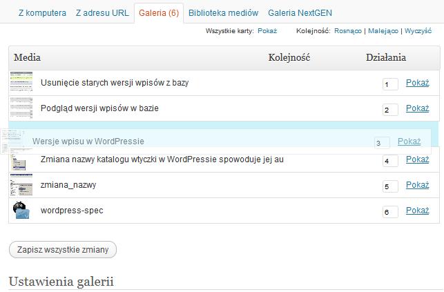 Zmiana kolejności zdjęć w galerii natywnej WordPressa