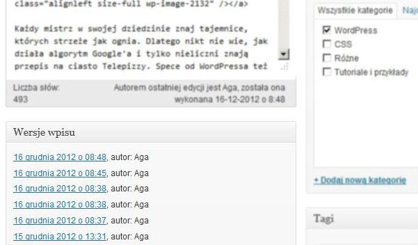 Wersje wpisu w WordPressie