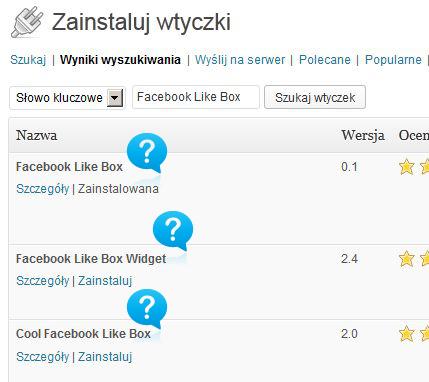 Wyszukiwanie wtyczki Facebook Like Box