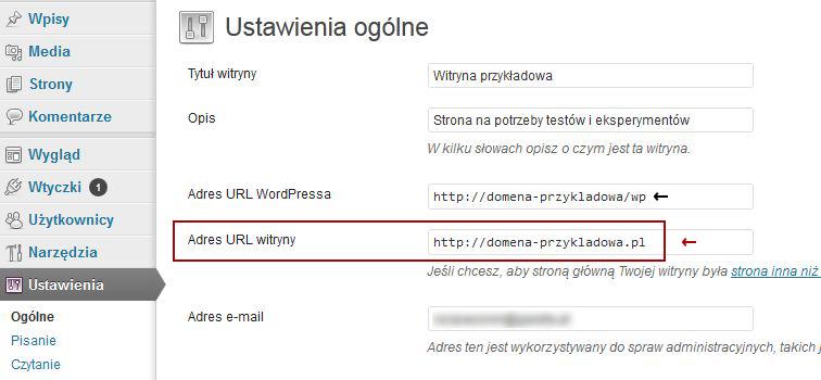 Zmiana adresu URL witryny na WordPressie