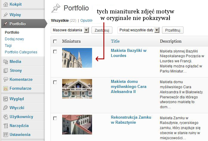 Portfolio własny typ wpisów w WordPressie
