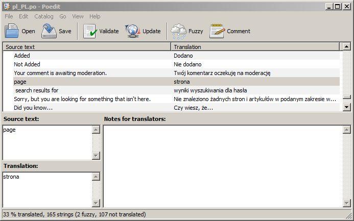 Strona - tłumaczenie z wykorzystaniem tzw. pliku po.