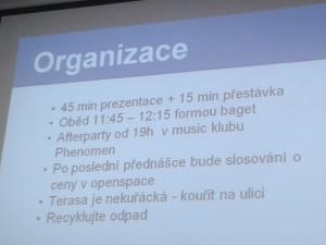 agenda eventu na slajdzie
