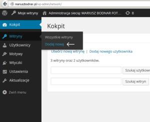 Dodanie kolejnej witryny do WordPress Multisis