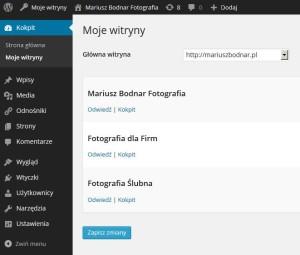 WordPress Multisite w panelu mariuszmodnar.pl