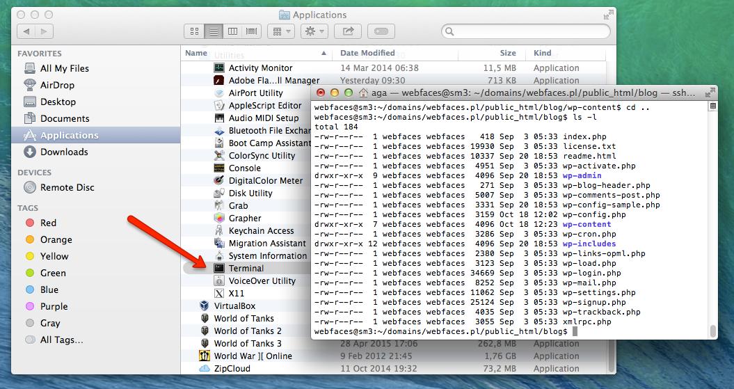 Dostęp do ssh na mac'u możliwy jest przez terminal