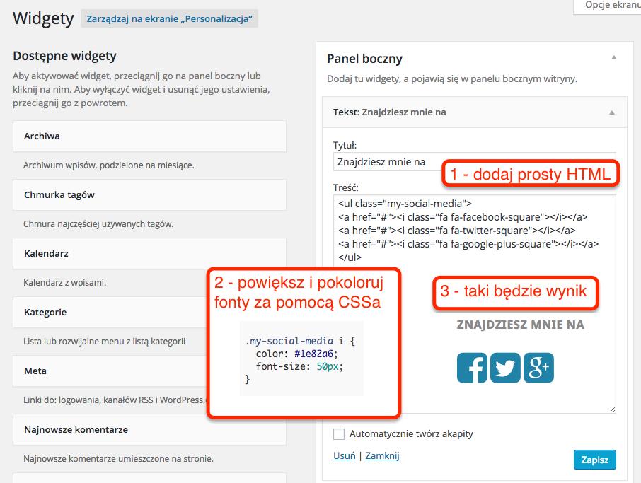 Wykorzystanie Font Awesome w WordPressowym widgetcie