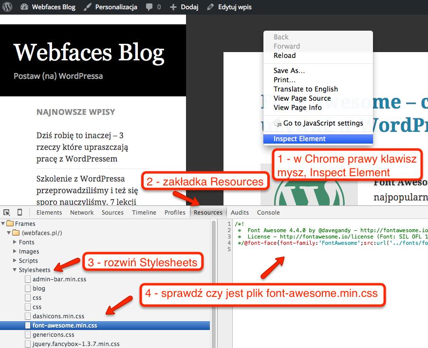 Jak sprawdzić czy plik CSS dla Font Awesome dołączył się prawidłowo