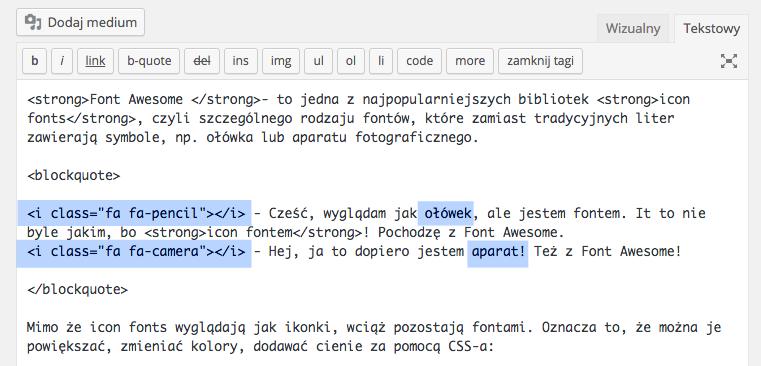 Korzystanie z Font Awesome we wpisie w WordPressie