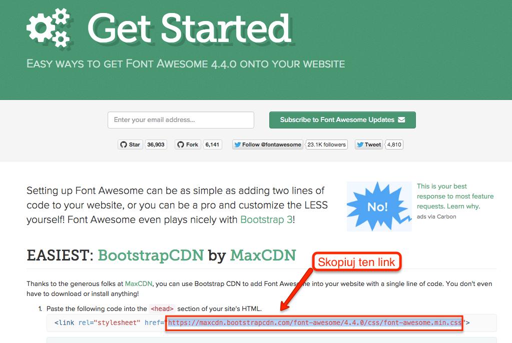 Jak pobrać link do pliku CSS z Font Awesome