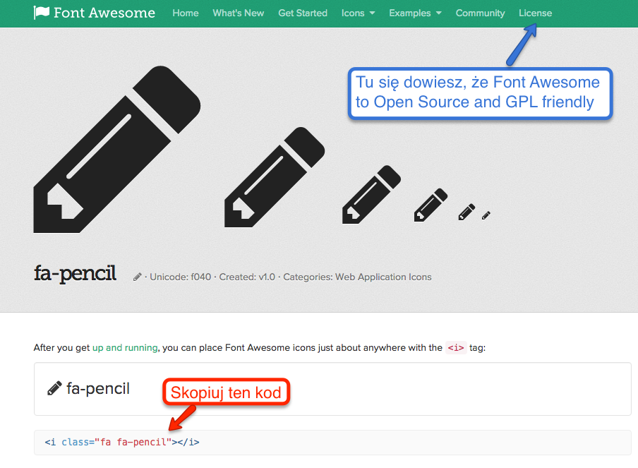 Przykład pobierania kodu z Font Awesome