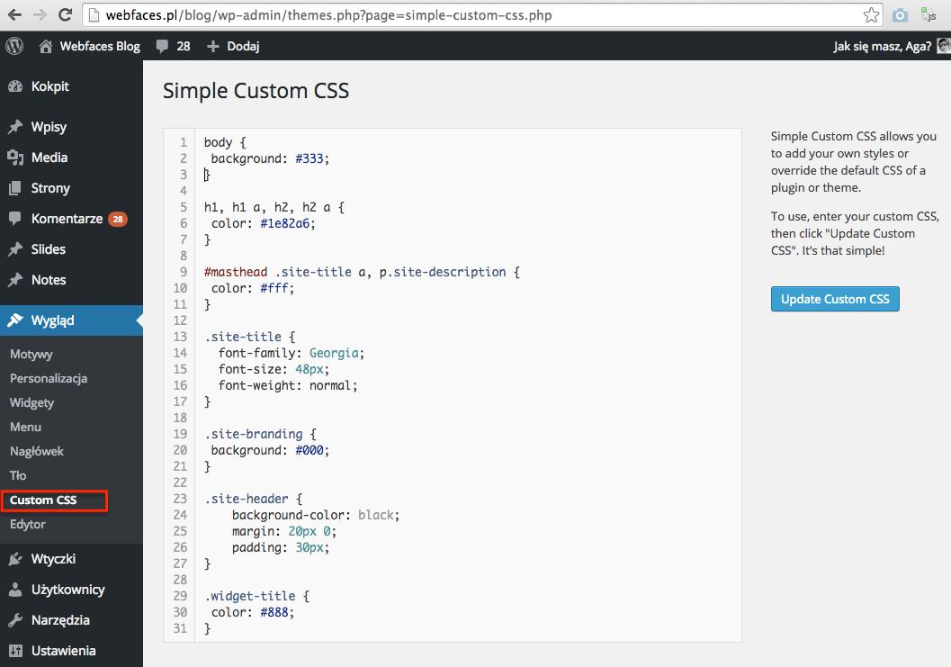Wtyczka SImple Custom CSS pozwala modyfikować CSS bez dostępu przez ftp