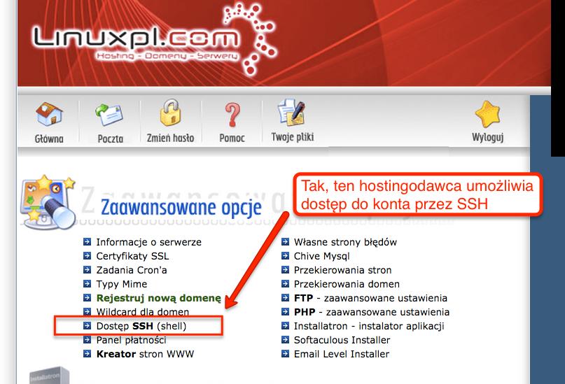 Dostęp do shella w koncie hostowanym na linuxpl.com