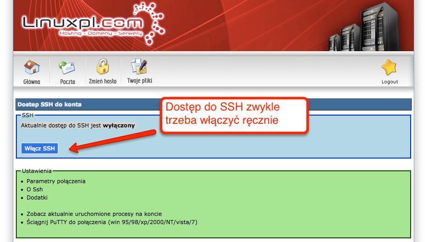 Włączenie dostępu przez ssh na koncie hostingowym w linuxpl.com