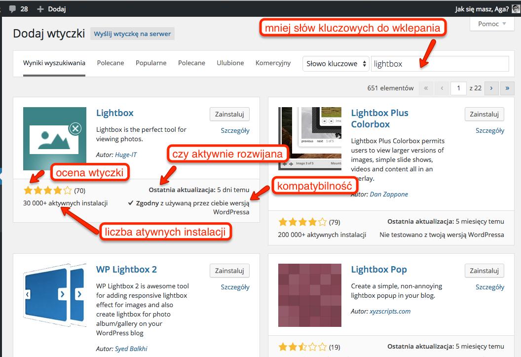 Zalety szukania wtyczek przez panel WordPressa