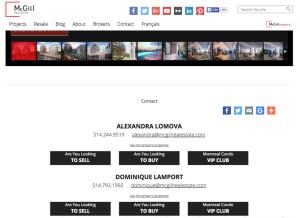 Każda nieruchoomość na stronie http://www.mcgillimmobilier.com posiada informację kontkatową