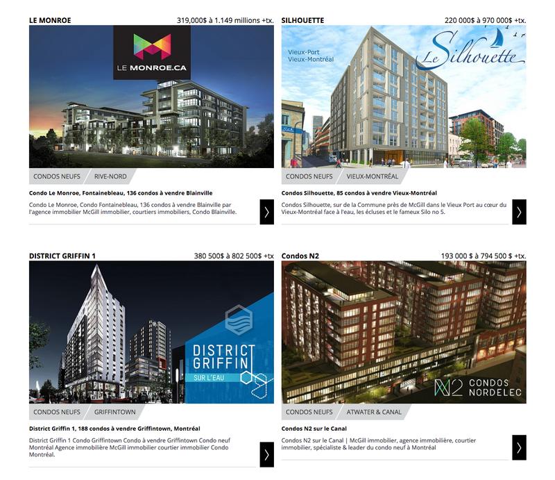 Nieruchomości na stronie głównej witryny mcgillimmobilier.com
