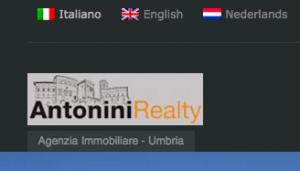Strona Antonini Realty jest dostępna w trzech językach: włoskim, angielskim, holenderskim