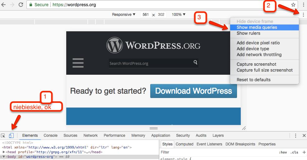 Jak testować media queries w Chrome - krok 3