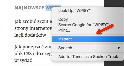 Prawy klawisz myszy -> Inspect