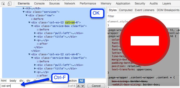 Ctrl-F działa tylko w sekcji Elements, nie przeszukuje panelu Styles