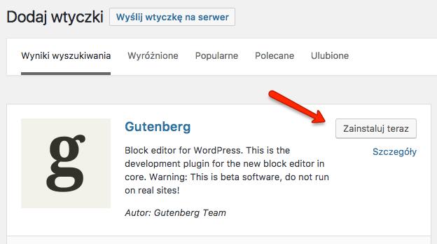 Edytor Gutenberg obecnie dostępny jako wtyczka