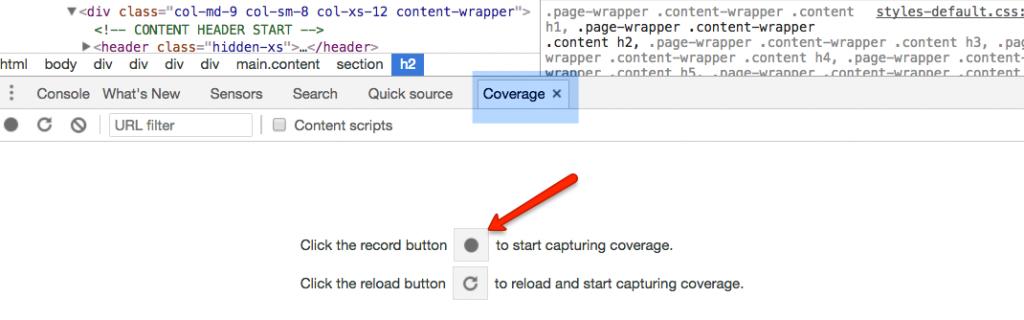 Panel Coverage w Chrome DevTools - przycisk record