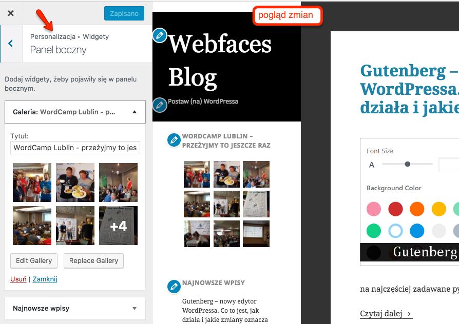 Dodawanie widgetu galeria z poziomu Personalizacji pozwala na śledzenie zmian w podglądzie