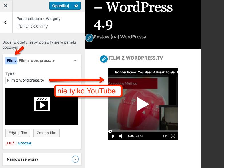 Możliwość dodawania filmów z różnych platform w widecie tekstowym