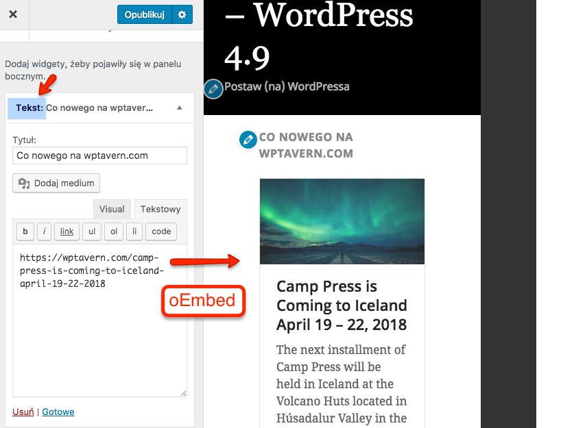 Wsparcie formatu eEmbed w widgecie tekstowym