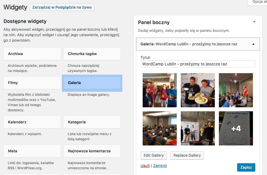 Widget Galeria w panelu WordPressa będzie dostępny od wersji WP 4.9