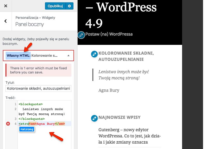Autouzupełnianie znaczników i kolorowanie składni w widgecie HTML