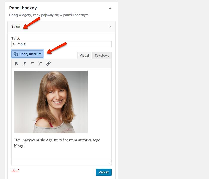 Możliwość dodawania obrazków poprzez widget tekstowy