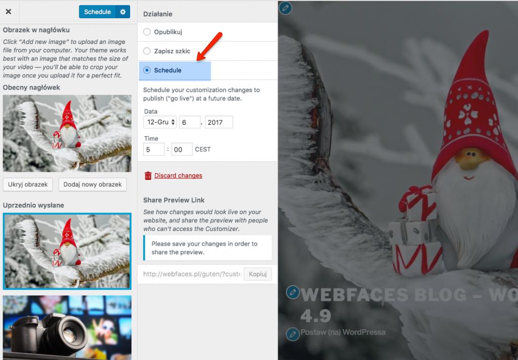 Ekran personalizacji - możliwość zaplanowania automatycznej publikacji zmiany