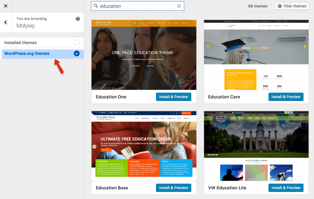 Ekran personalizacji – możliwość przeglądania i instalacji wszystkich motywów z wordpress.org.