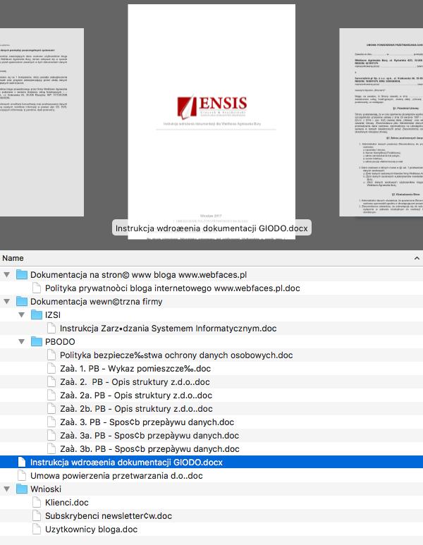 Komplet dokumentów przygotowanych przez firmę Ensis