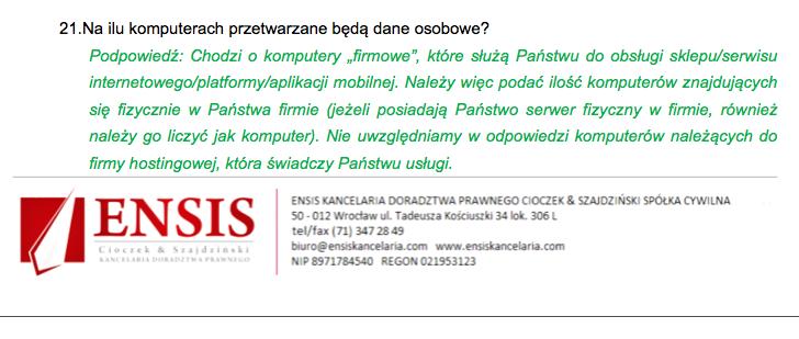 Fragment ankiety otrzymanej od firmy Ensis, której powierzyłam pomoc w przygotowaniu dokumentacji GIODO