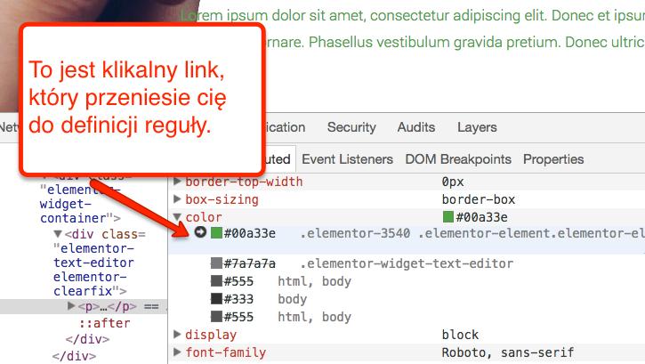Link do definicji reguły CSS