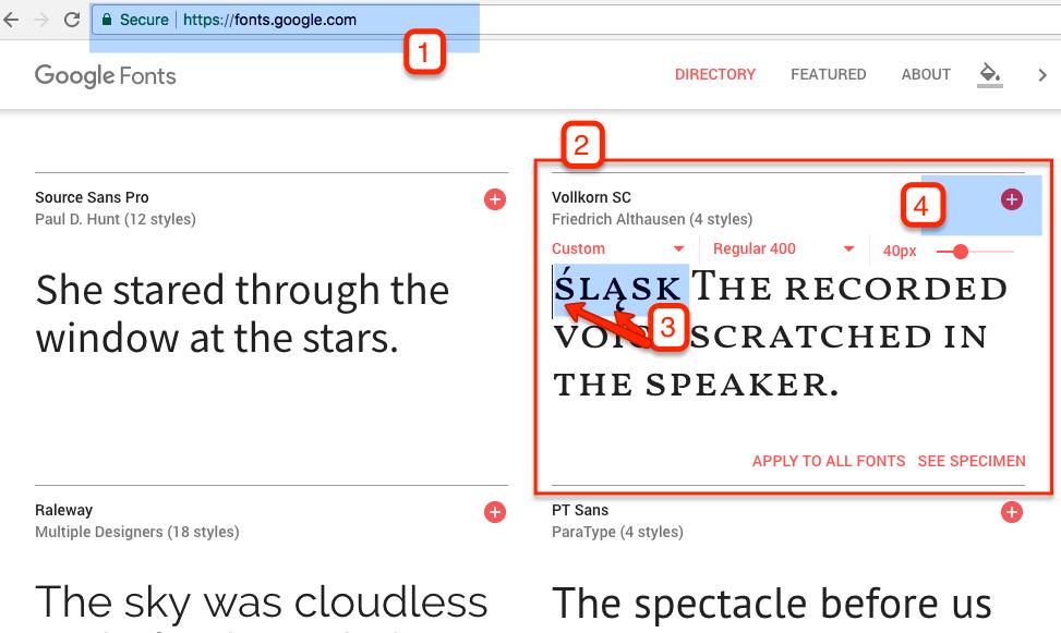 Kroki 1-4 wykonaj na stronie fonts.google.com