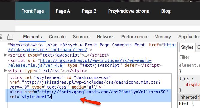 Klej kod <link... > skopiowany ze strony Google Fonts