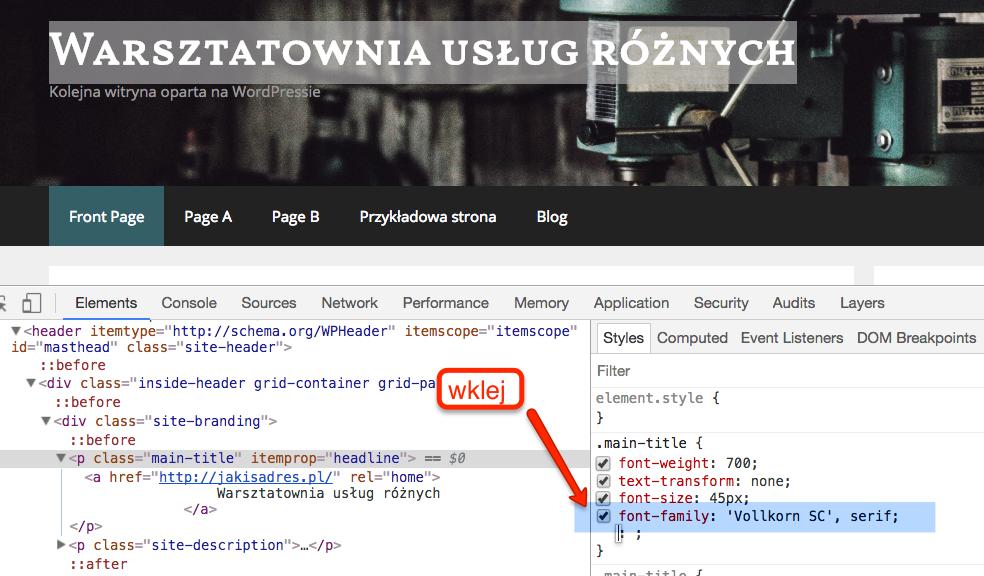 Dodaj nową regułę - wklej kod font-family skopiowany ze strony Google Fonts
