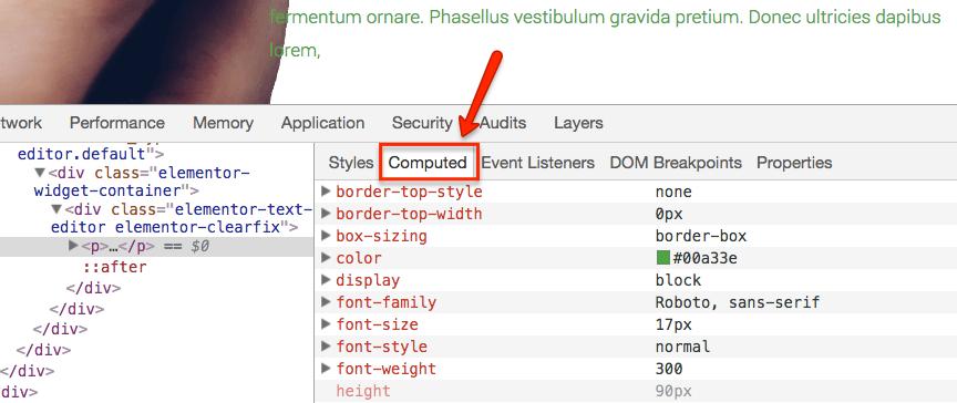 Zakładka Computed pokazuje wyliczone wartości CSS