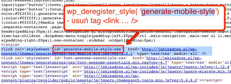 Ten link zostanie usunięty za pomocą funkcji wp_deregister_style